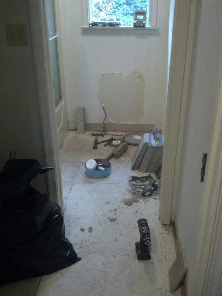 Before tile floor with perimeter walls