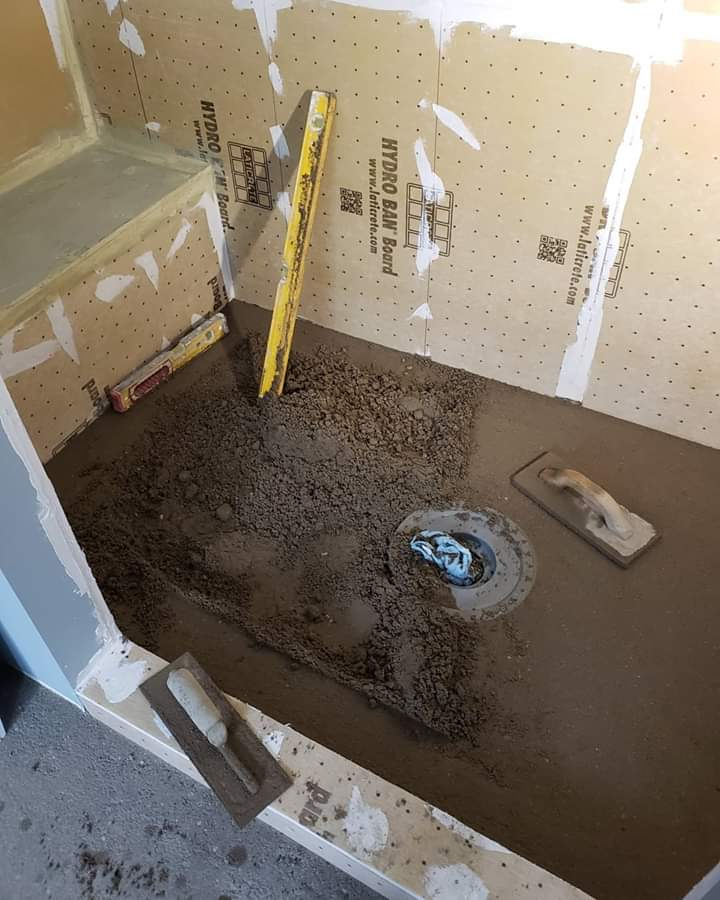 Hydroban shower system wetbed floor in progress