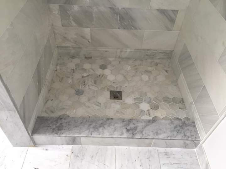 Marble Hex shower pan