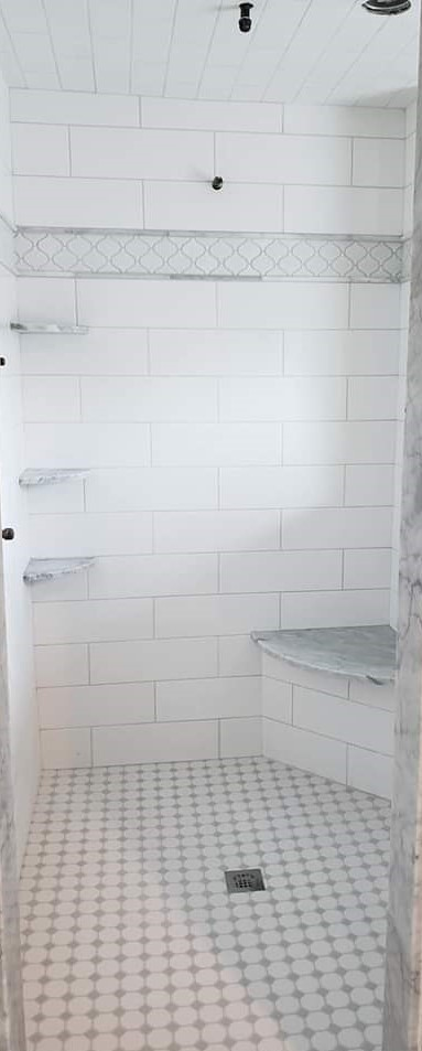custom shower octogon floor with dots