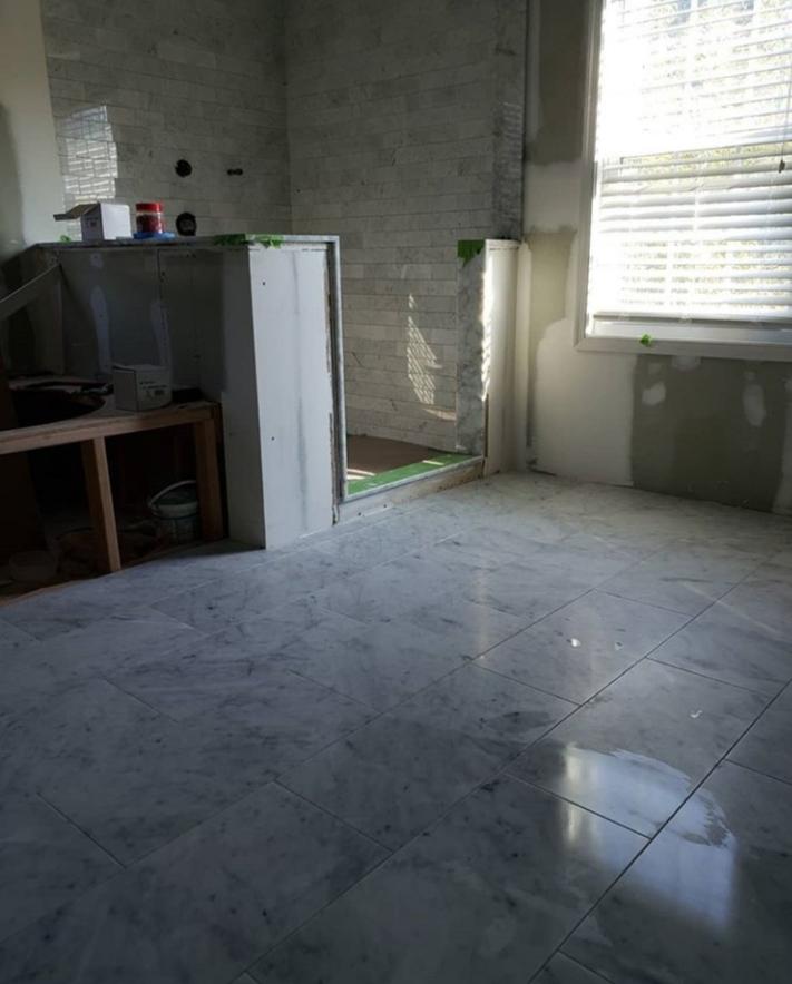 marble bathroom floor in progress