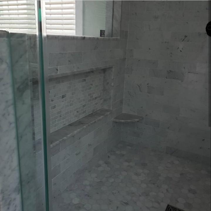 marble bathroom shower niche