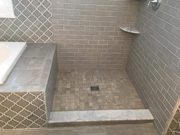 tile shower tub deck bench