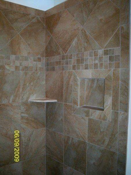 tile shower with niche and corner shelf